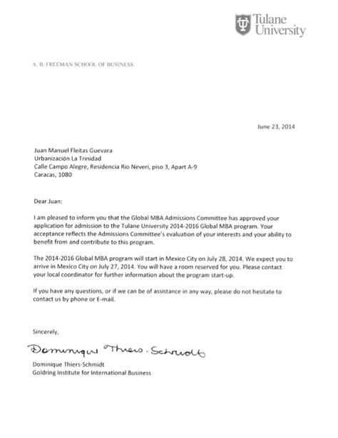 Global MBA Admission Letter   Tulane University