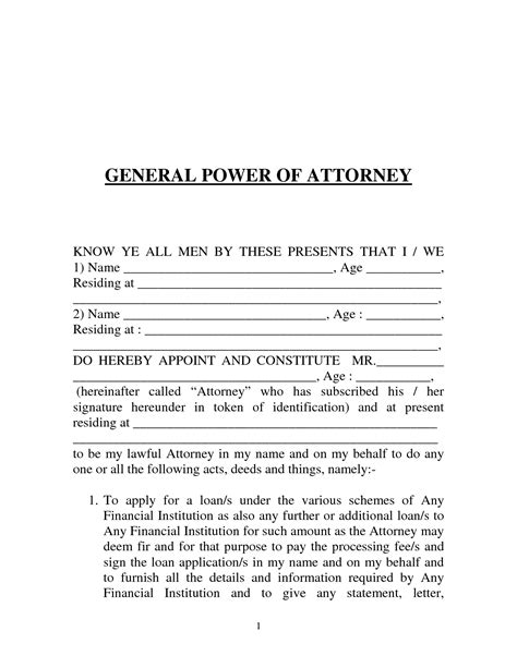 general power of attorney template free printable power of attorney form generic