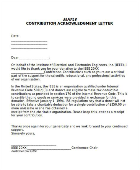 Donation Letter Irs Acknowledgement Sle Donation Letter