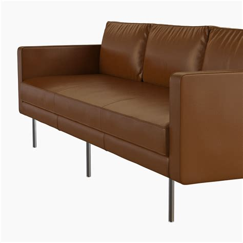west elm leather couch west elm axel leather sofa 3d model max obj fbx cgtrader com