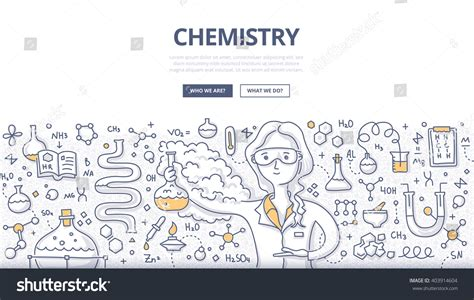 doodle reactions doodle vector illustration scientist chemistry stock