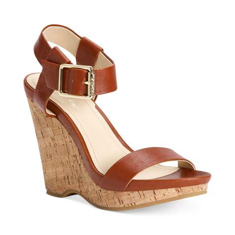 calvin klein womens nikole platform wedge sandals in brown