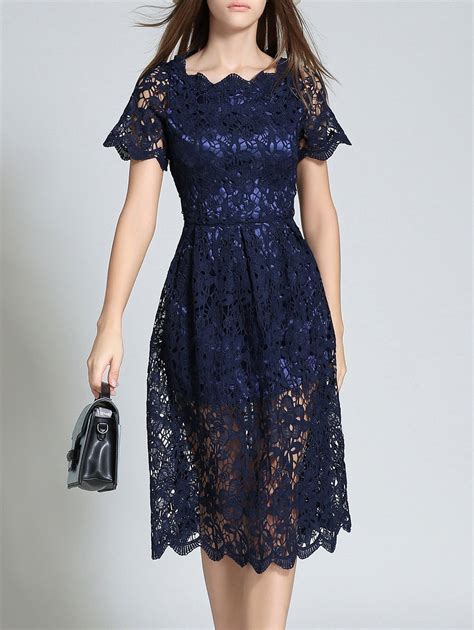 Hollow Out Lace Dress 2018 sleeve hollow out scalloped lace dress purplish