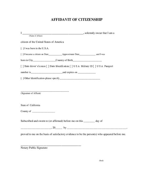 Support Letter Citizenship citizenship affidavit form 7 free templates in pdf word