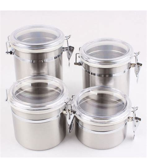 4 piece stainless steel kitchen storage canister set flour 4 piece stainless steel canister set with airtight acrylic
