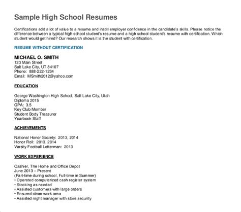 resume template for high school graduate 10 high school graduate resume templates pdf doc