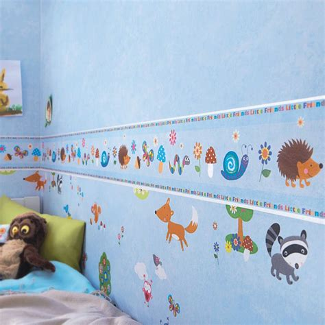 bedroom boarders woodland animals wallpaper borders bedroom nursery sand neutral blue ebay
