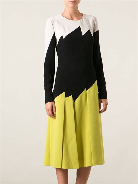 black and white geometric pattern dress bottega veneta geometric pattern dress in yellow lyst