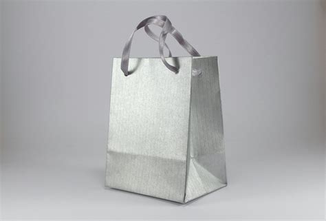 Paper Gift Bags - 10 paper gift bags with handles small silver paper