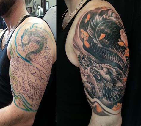 half sleeve dragon tattoo designs asian colour archives chronic ink