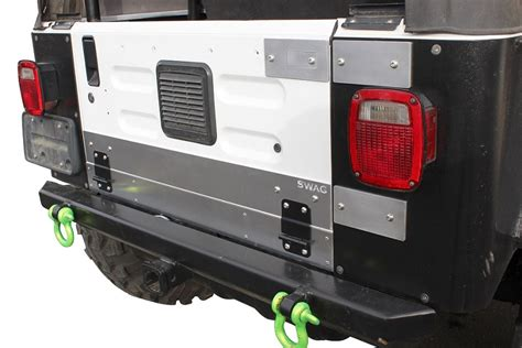 jeep wrangler tailgate conversion jeep wrangler aluminum drop tailgate conversion kit