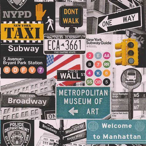 Photographic Wall Murals galerie yolo new york road sign nypd taxi broadway