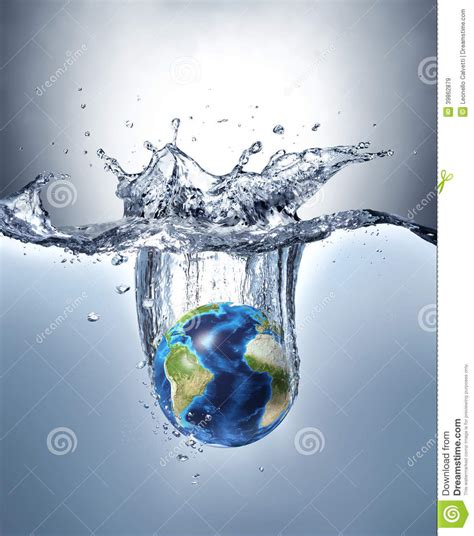 under earth under water planet earth splashing into water stock image image of