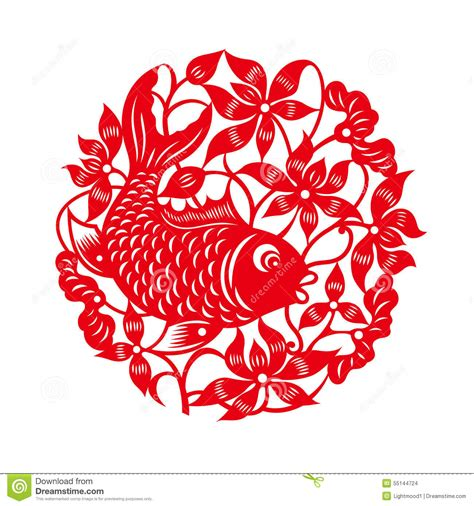 new year paper cutting patterns fish with lotus traditional paper cut stock