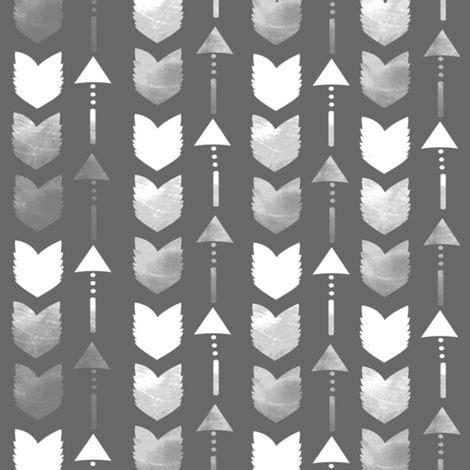 Grey Arrow Pattern | charcoal grey tribal arrow pattern fabric by inspirationz