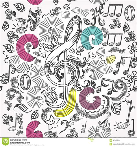doodle less pool musicas vector seamless wallpaper pattern with doodle
