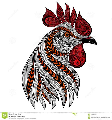 beautiful abstract vector rooster stock illustration