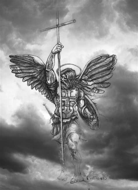 pin archangel michael pencil tattoo illustration on