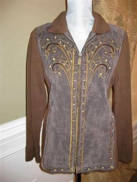 Embroidery Vest Size Sml bob mackie wearable embroidered suede leather zip jacket size small s euc bob mackie