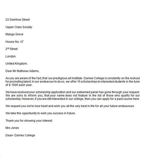 Rejection Letter Template Word College Rejection Letter Custom College Papers