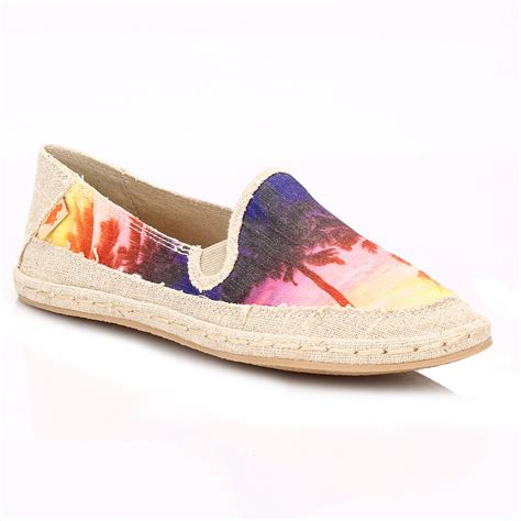 Sandal Wedges Flat Casual Wanita Import High Qlty rocket womens multi canvas flats low slip on casual shoes ebay