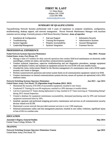 Resumes For Civilian to civilian resume lifiermountain org