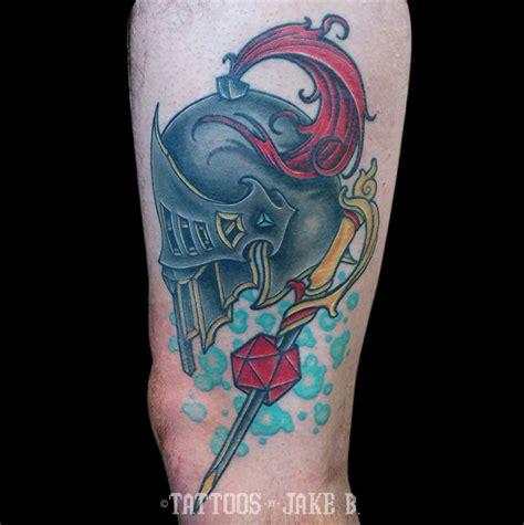 dungeons and dragons tattoo jakeb dd helmet neo traditional nerdy nerdcore goofy