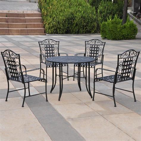 Shop International Caravan Mandalay 5 Piece Wrought Iron Wrought Iron Patio Dining Set