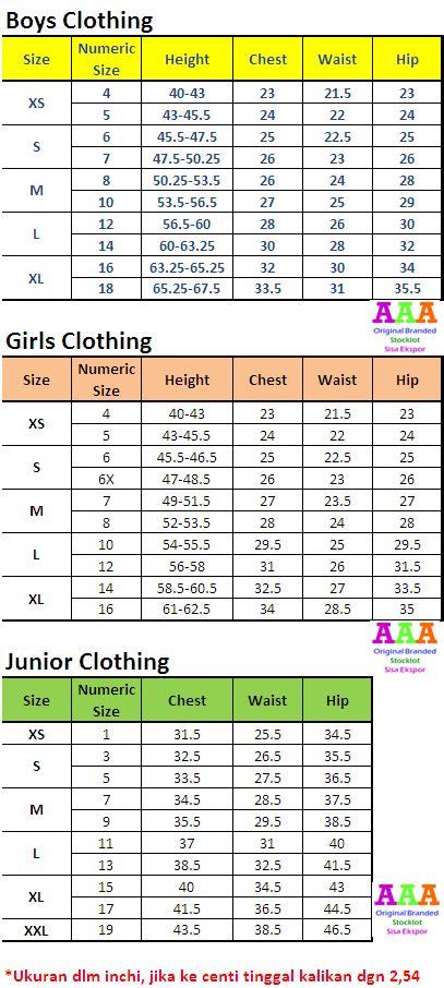 Dress Anak Perempuan Gymboree 2 tabel ukuran baju anak chart babies and