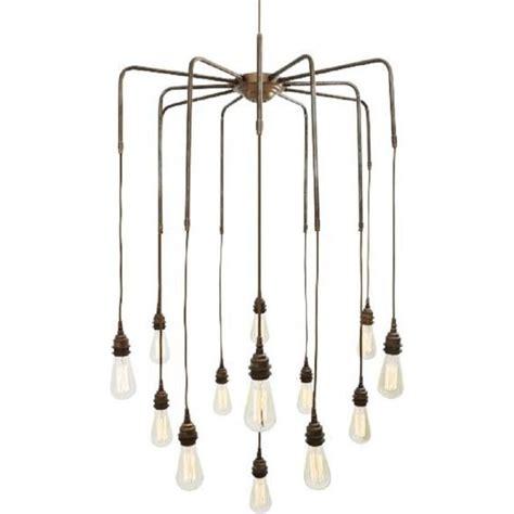 Large Hanging Ceiling Lights Cluster Of 13 Bare Bulb Hanging Pendant Lights On Antqiue Brass Frame