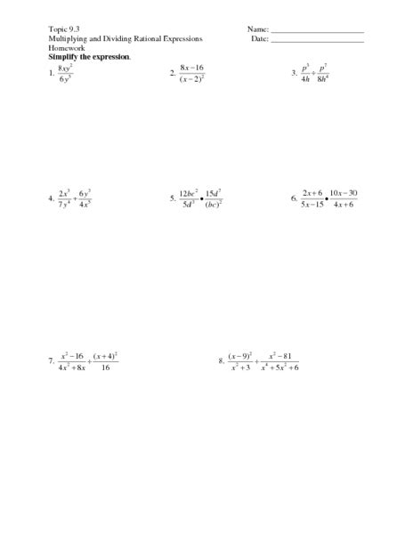 Dividing Rational Expressions Worksheet by Dividing Rational Expressions Worksheet Lesupercoin Printables Worksheets