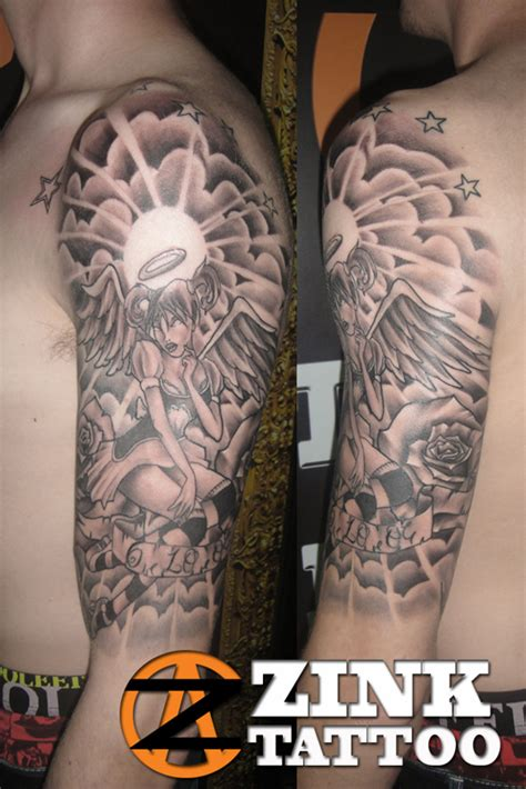 angel half sleeve tattoo and grey ink on half sleeve