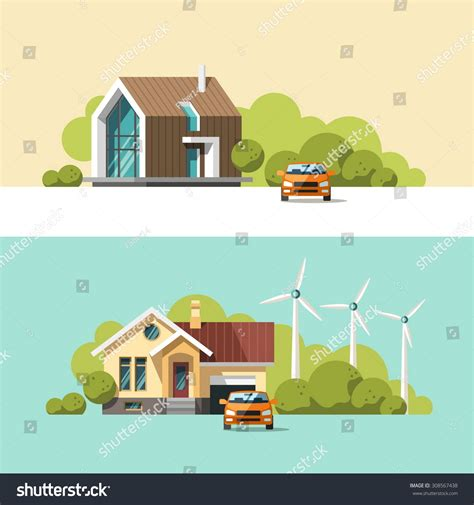 traditional and modern house family home flat design family home traditional modern house flat stock vector