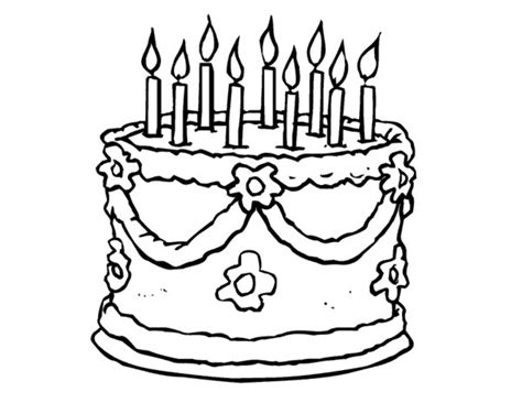 easy birthday coloring pages birthday cake line drawing clipart best