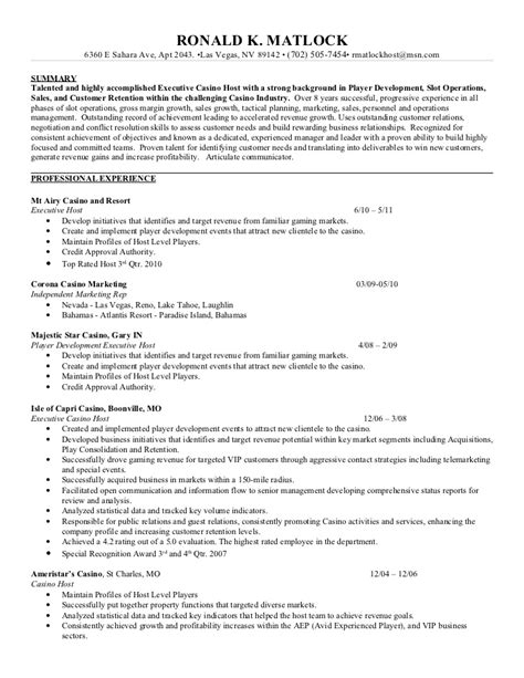 Ron Matlock Resume Casino Resume Template