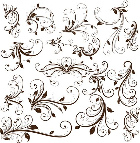 Floral Decorative swirl floral decorative element vector graphic free