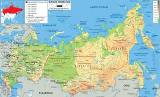large detailed physical map of russia with all roads