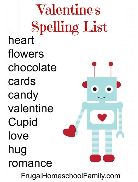 valentines day list free s day spelling list