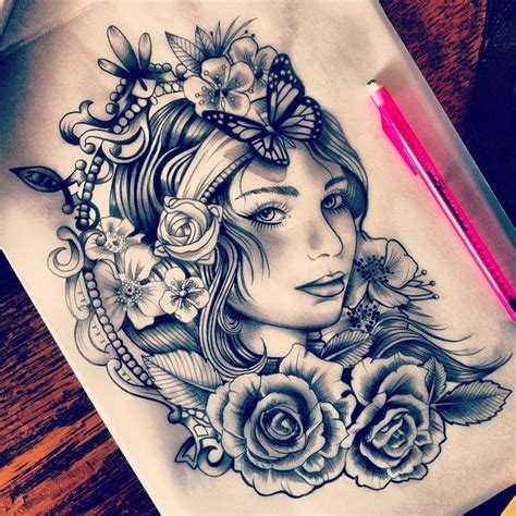 pretty face tattoo designs flower ideas tatluv tatluv