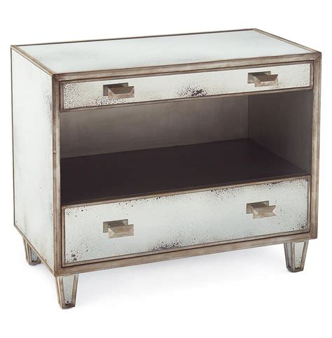 Silver Nightstand Selena Regency Antique Mirror Silver 2 Drawer