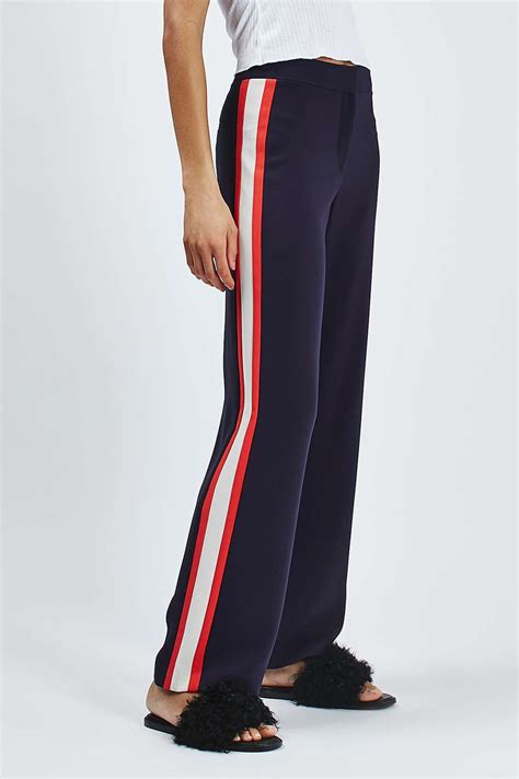 Celana Side Stripe Colour Ts side stripe wide leg trousers topshop