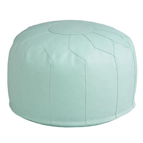 faux leather pouf mint the land of nod