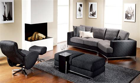 Furniture Tables Living Room Contemporary Living Room Chairs Dominated By Black Color With Laminated Hardwood Flooring