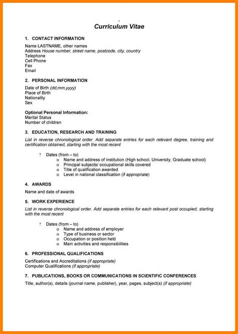 Cv Template In South Africa 10 Cv Format 2017 South Africa Science Resume