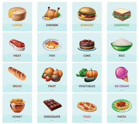 imagenes de comidas en ingles y español food words alimentos en ingl 233 s smile and learn