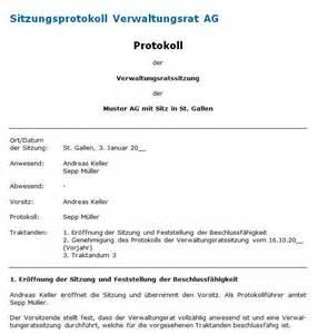 Word Vorlage Protokoll Sitzung Protokollvorlage Verwaltungsratssitzung