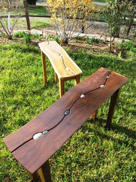 stone and wood bench riverstone tables for a local gallery by rusticandy