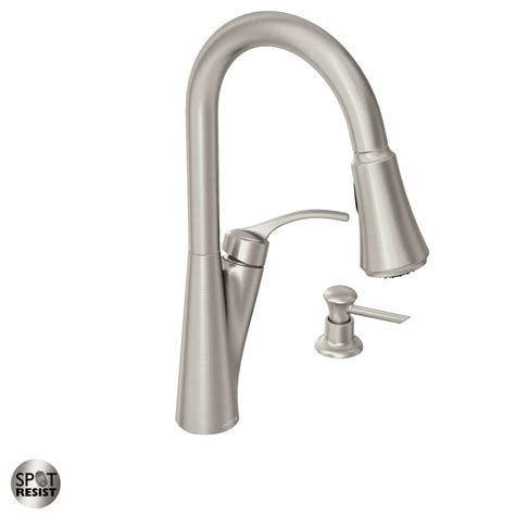 moen kitchen faucet with soap dispenser faucet 87407srs in spot resist stainless by moen