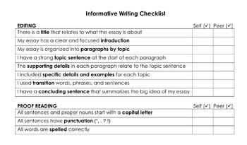 Evaluation Essay Introduction Exle by Editing Checklist Informative Writing By Traveler