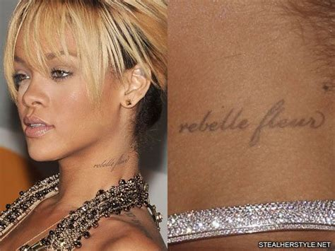 rihanna tattoo on her neck rihanna quot rebelle feur quot neck tattoo steal her style